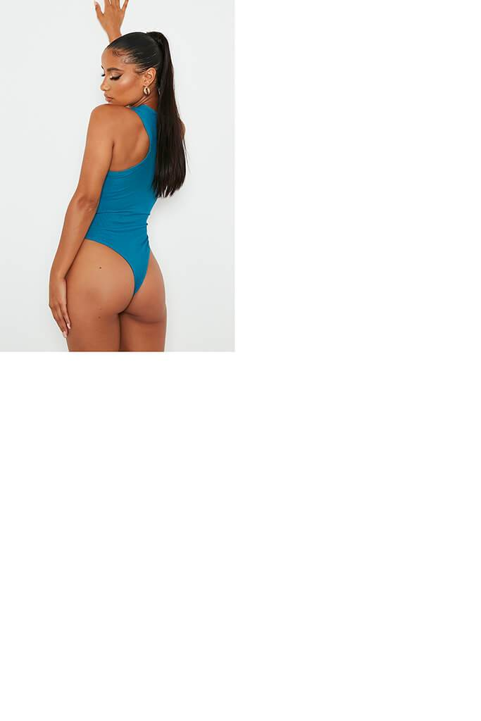 Teal Ribbed Extreme Racer Neck Bodysuit view 5