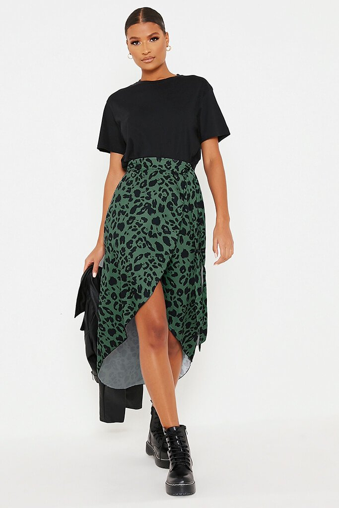 Olive Green Leopard Print Wrap Midi Skirt view main view
