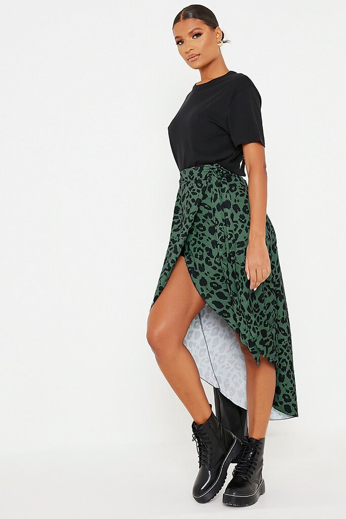 Olive Green Leopard Print Wrap Midi Skirt view 3