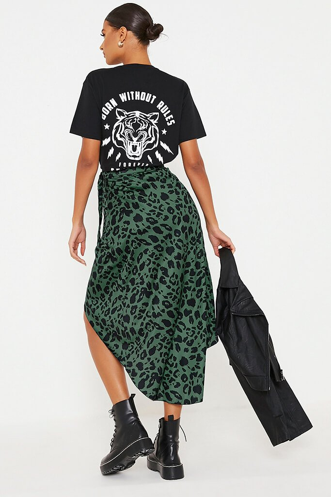 Olive Green Leopard Print Wrap Midi Skirt view 4