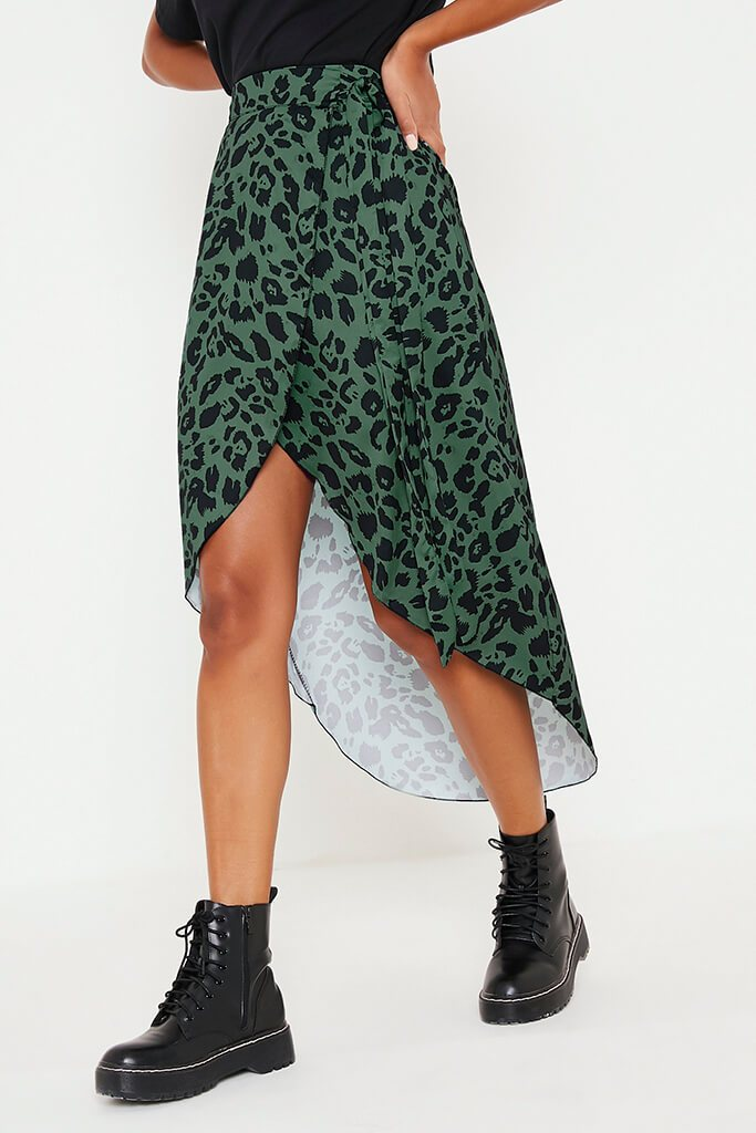 Olive Green Leopard Print Wrap Midi Skirt view 2