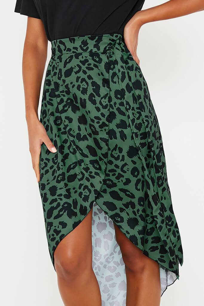 Olive Green Leopard Print Wrap Midi Skirt view 5
