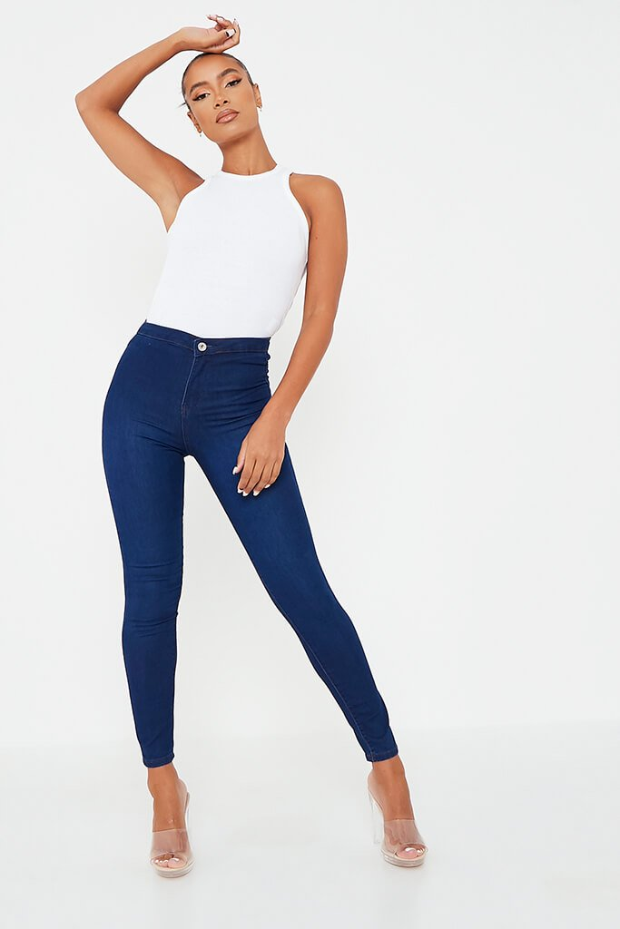 Dark Blue High Waisted Denim Jegging view main view