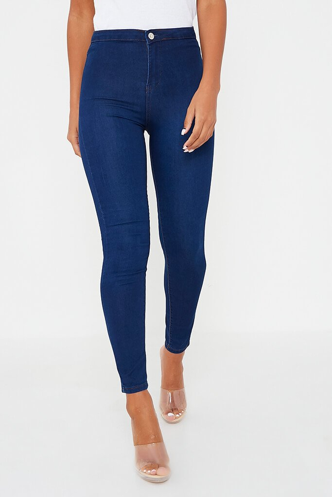 Dark Blue High Waisted Denim Disco Skinny Jean view 2