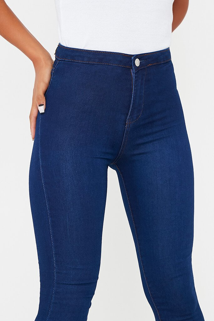 Dark Blue High Waisted Denim Disco Skinny Jean view 5
