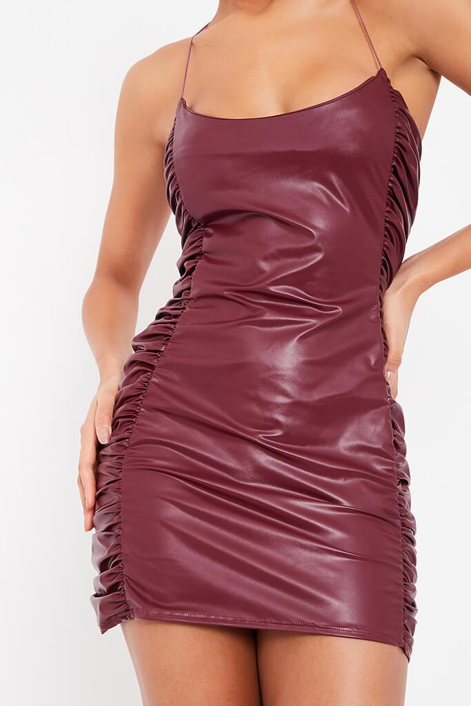 Burgundy Faux Leather Ruched Side Bodycon Dress view 5