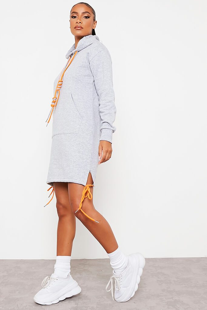 Grey Rope Detail Hooded Dress view 3
