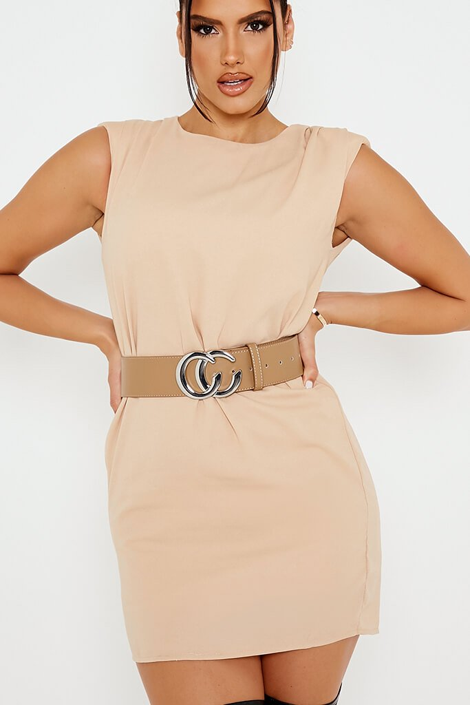 Nude Belt With Silver C Buckle view 2