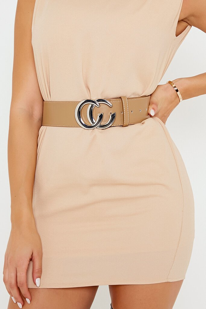 Nude Belt With Silver C Buckle
