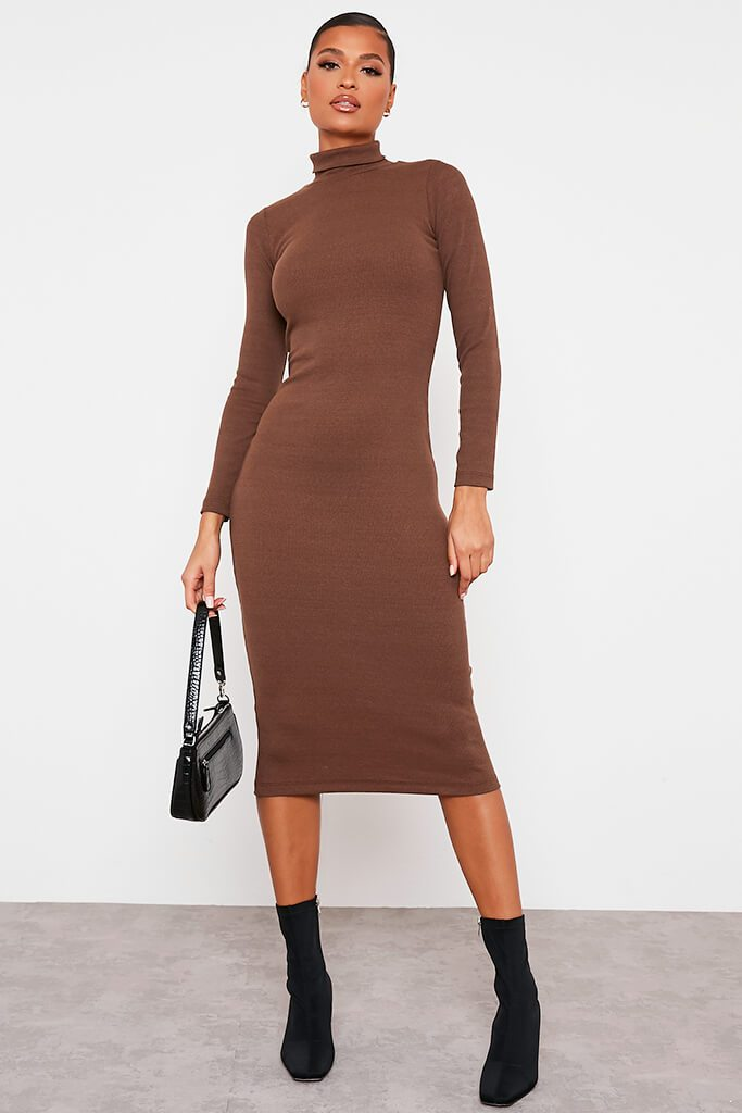 Chocolate Roll Neck Long Sleeve Ribbed Midi Dress