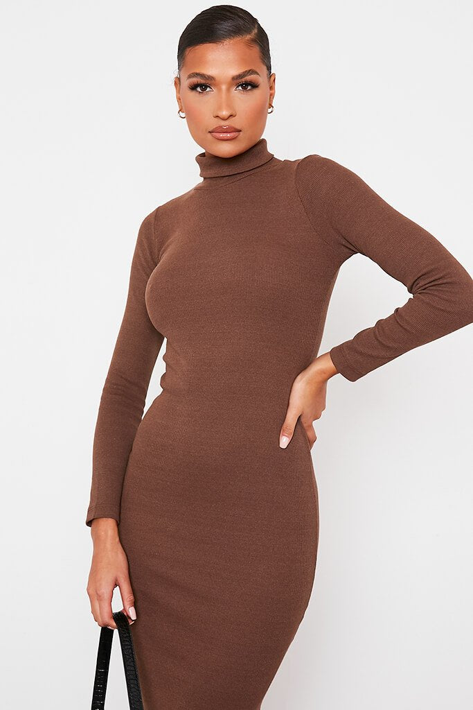 Chocolate Roll Neck Long Sleeve Ribbed Midi Dress view 2