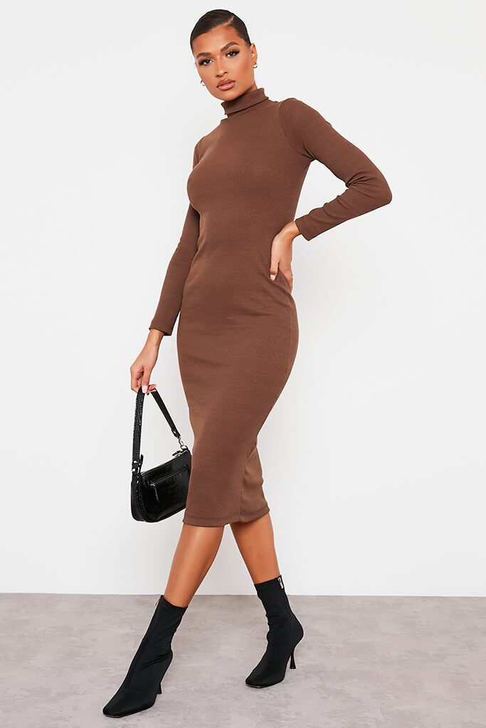 Chocolate Roll Neck Long Sleeve Ribbed Midi Dress view 3