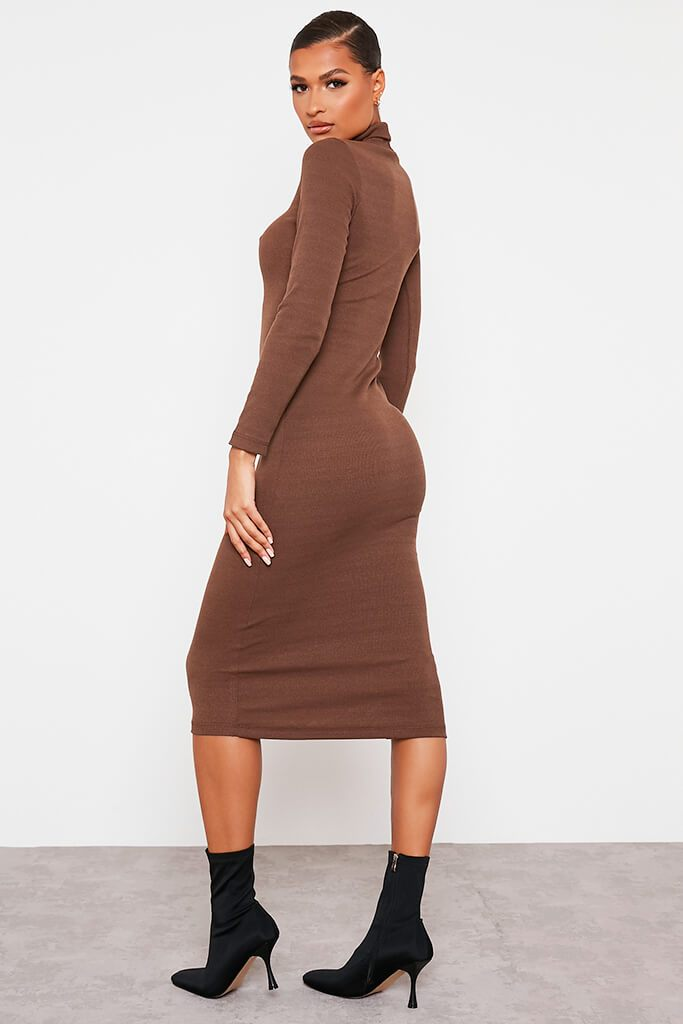 Chocolate Roll Neck Long Sleeve Ribbed Midi Dress view 4