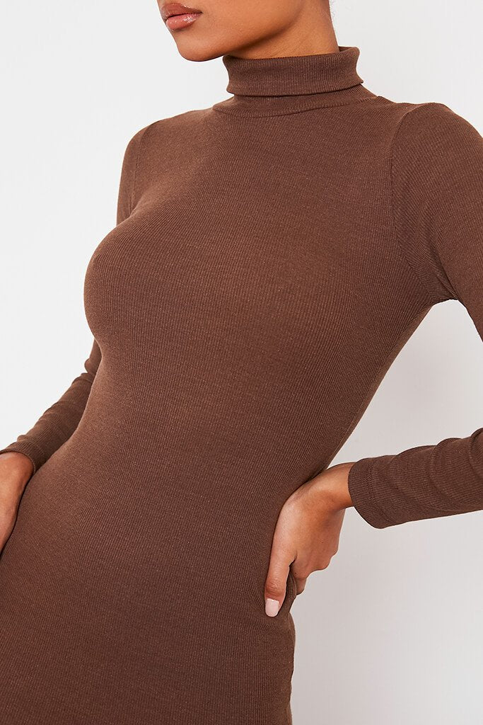 Chocolate Roll Neck Long Sleeve Ribbed Midi Dress view 5