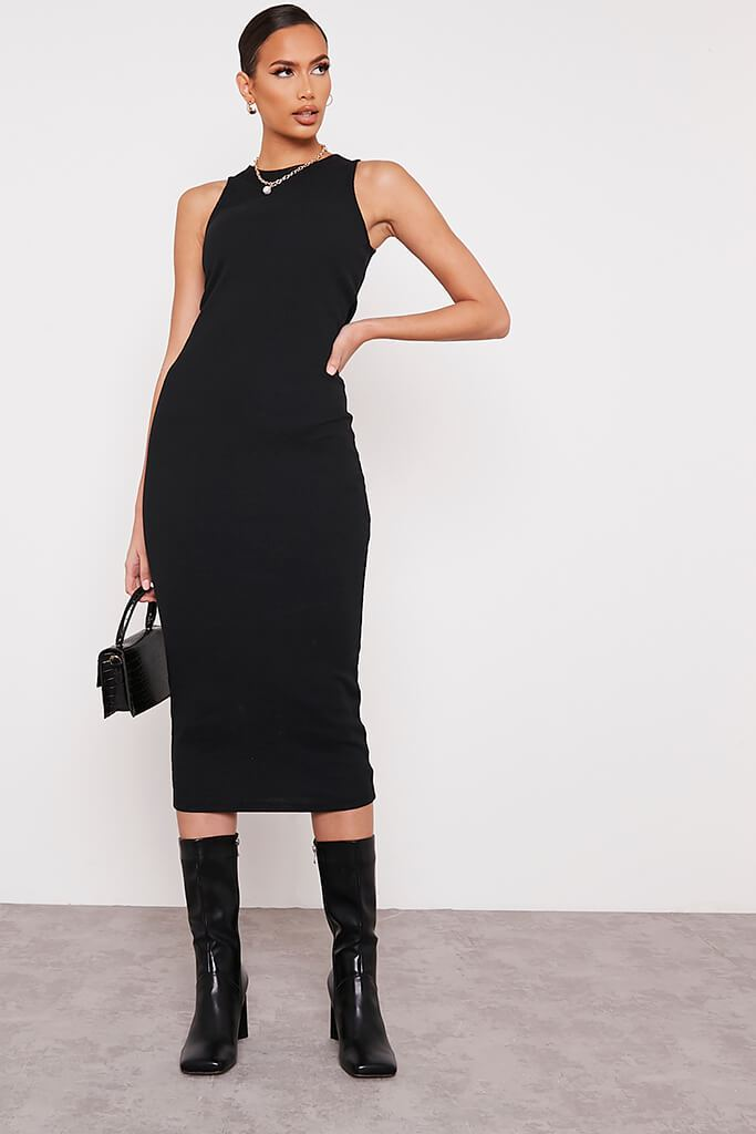 Black Premium Ribbed Racer Bodycon Midaxi Dress