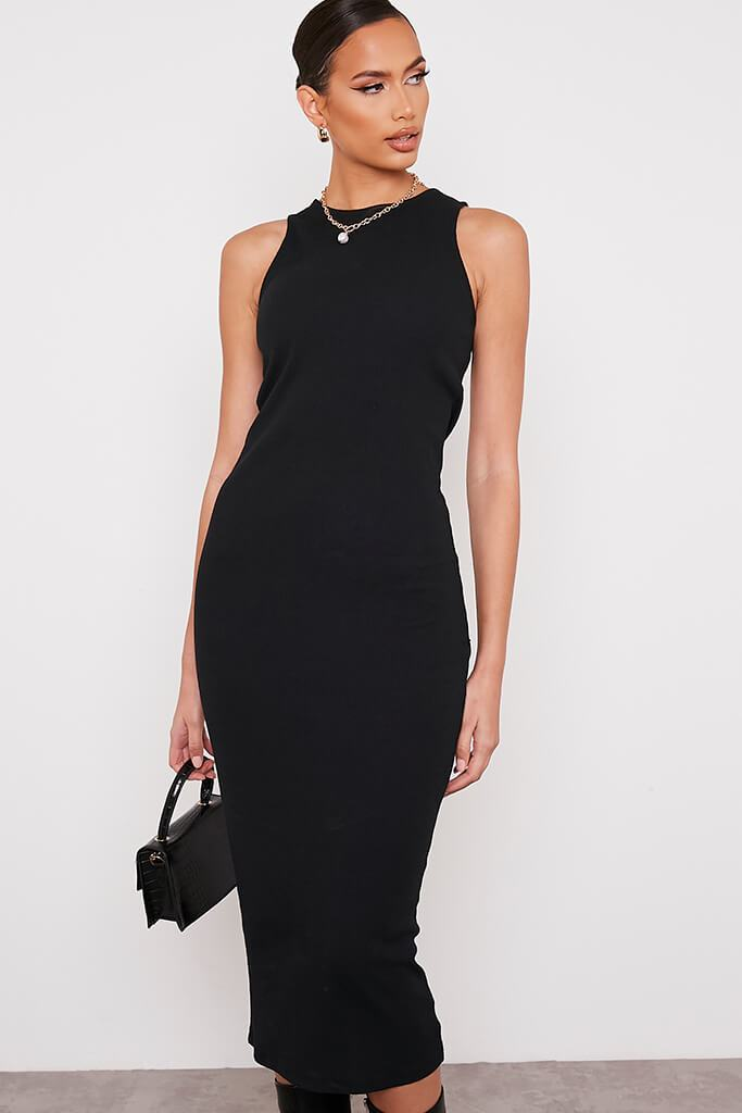 Black Premium Ribbed Racer Bodycon Midaxi Dress view 2