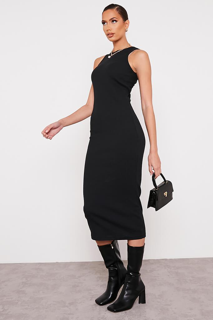 Black Premium Ribbed Racer Bodycon Midaxi Dress view 3