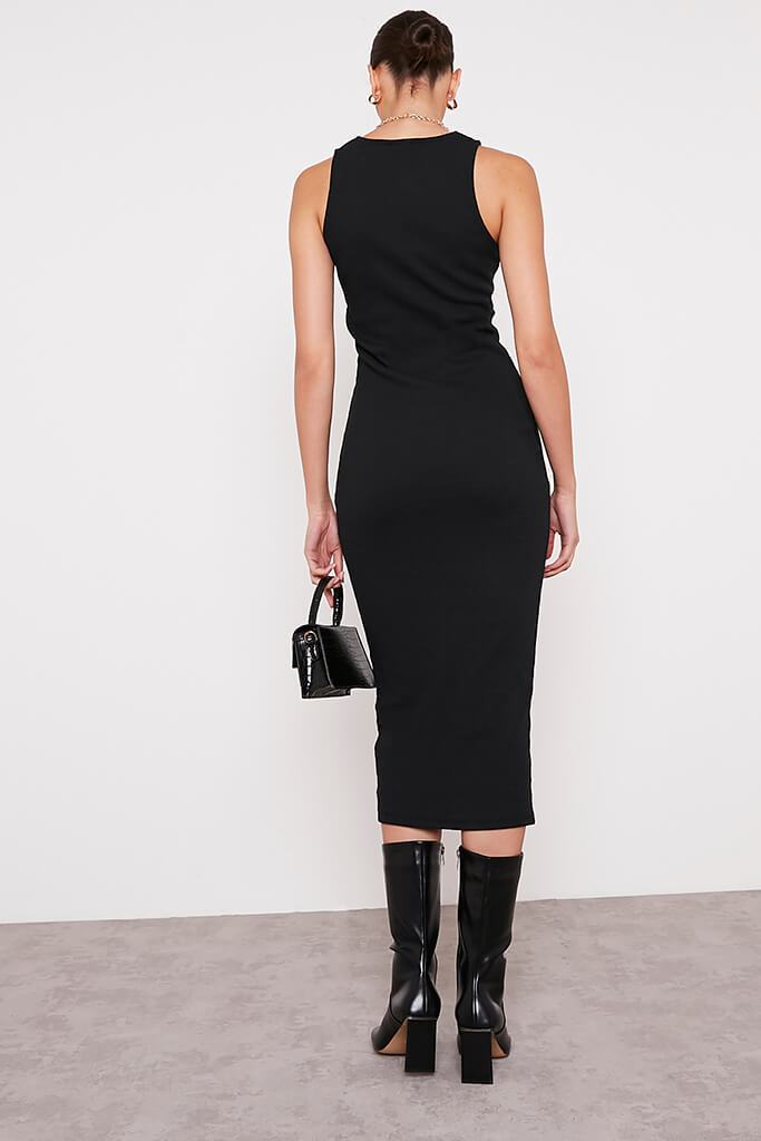 Black Premium Ribbed Racer Bodycon Midaxi Dress view 5