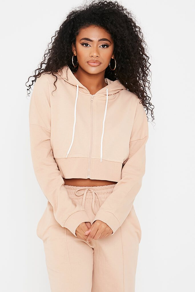 Stone Brushback Zip Through Cropped Hoodie