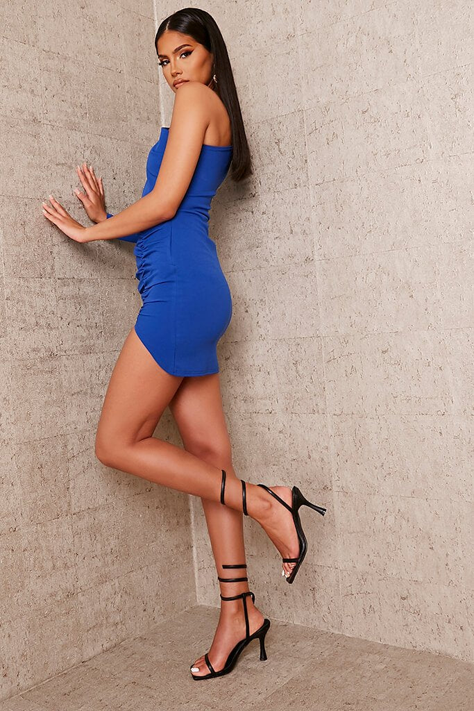Cobalt Blue Crepe One Shoulder Ruched Bodycon Dress view 3