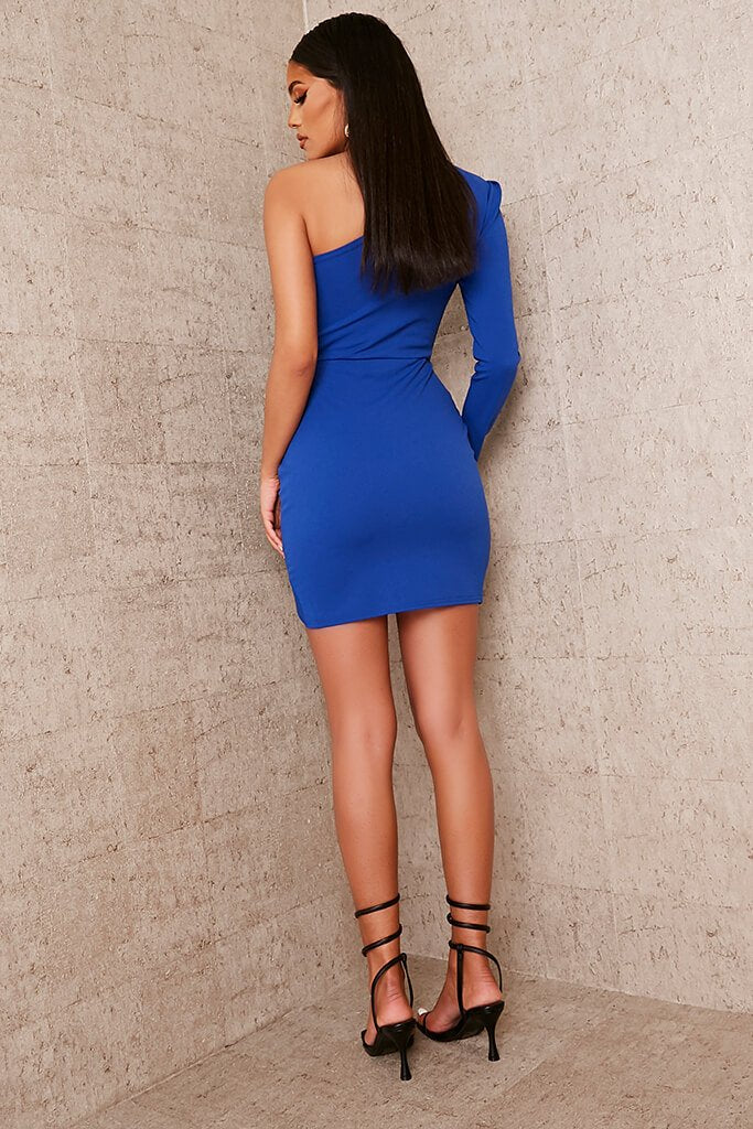Cobalt Blue Crepe One Shoulder Ruched Bodycon Dress view 4