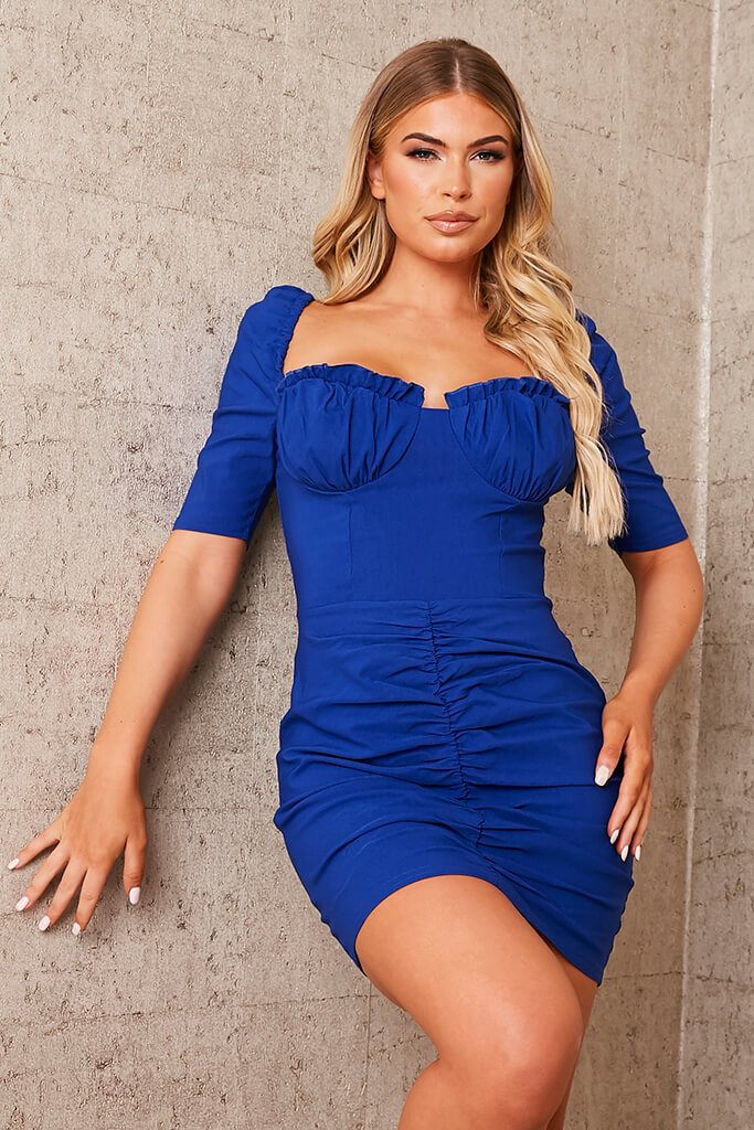 Cobalt Blue Bengaline Frill Cup Ruched Bodycon Dress