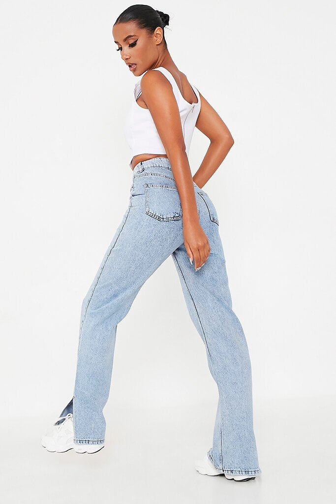 Acid Wash High Waisted Split Hem Jeans view 3