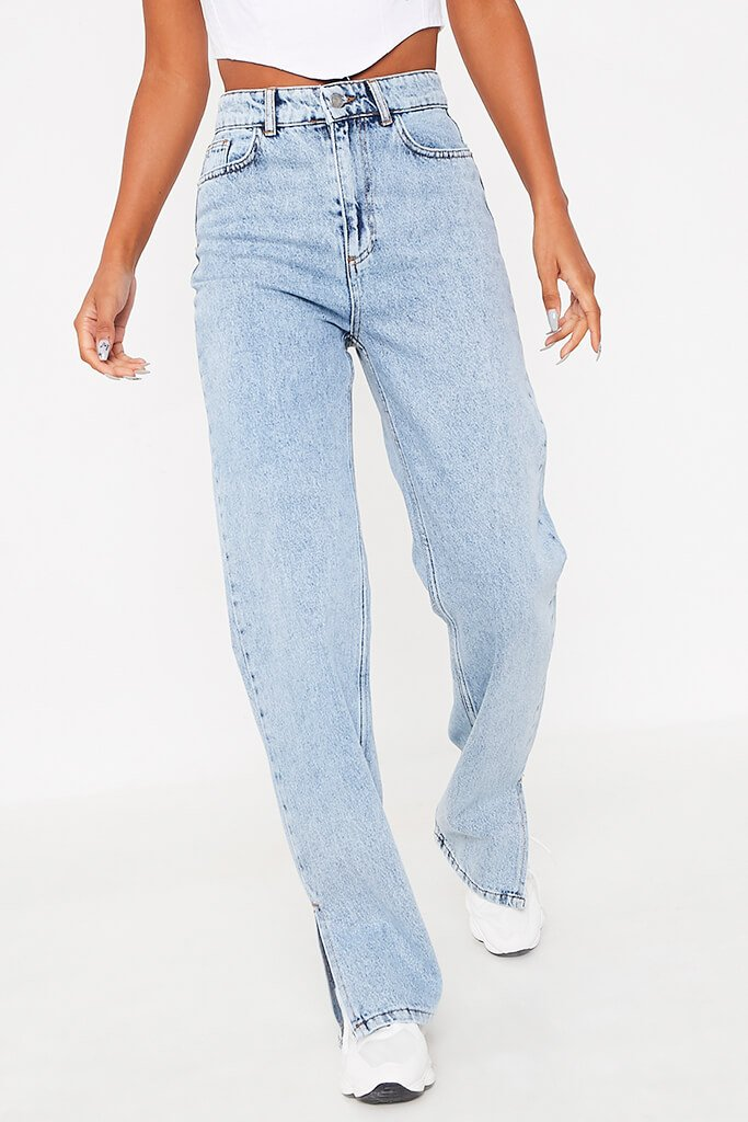 Acid Wash High Waisted Split Hem Jeans view 4