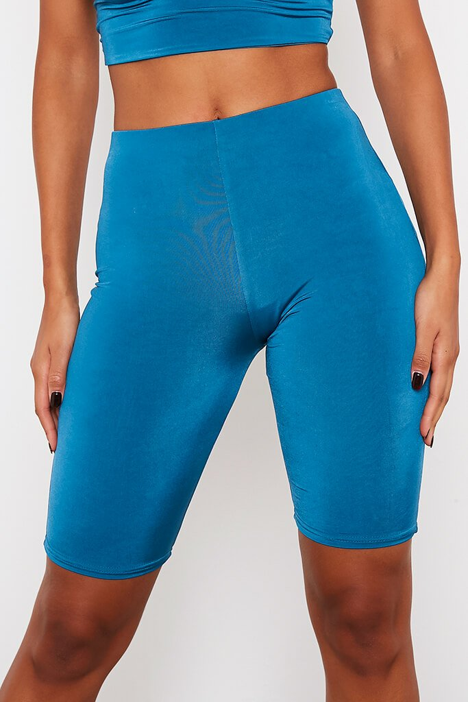 Teal Double Layer High Waisted Cycling Shorts view 5