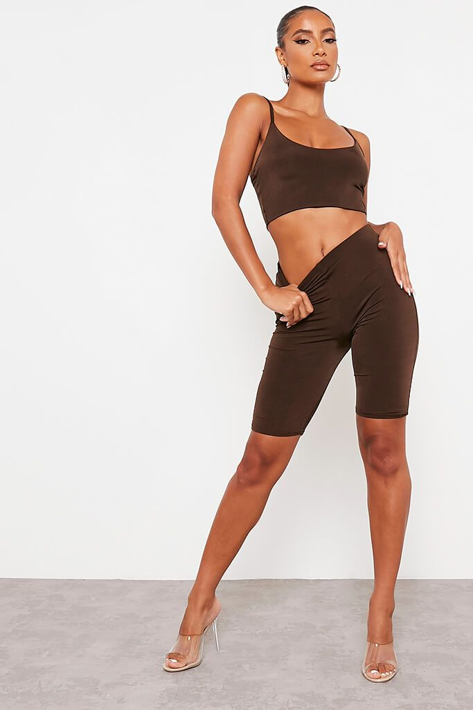 Chocolate Double Layer High Waisted Cycling Shorts