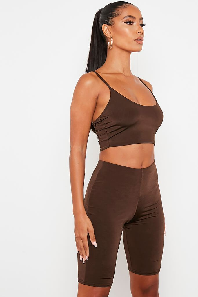 Chocolate Double Layer High Waisted Cycling Shorts view 2