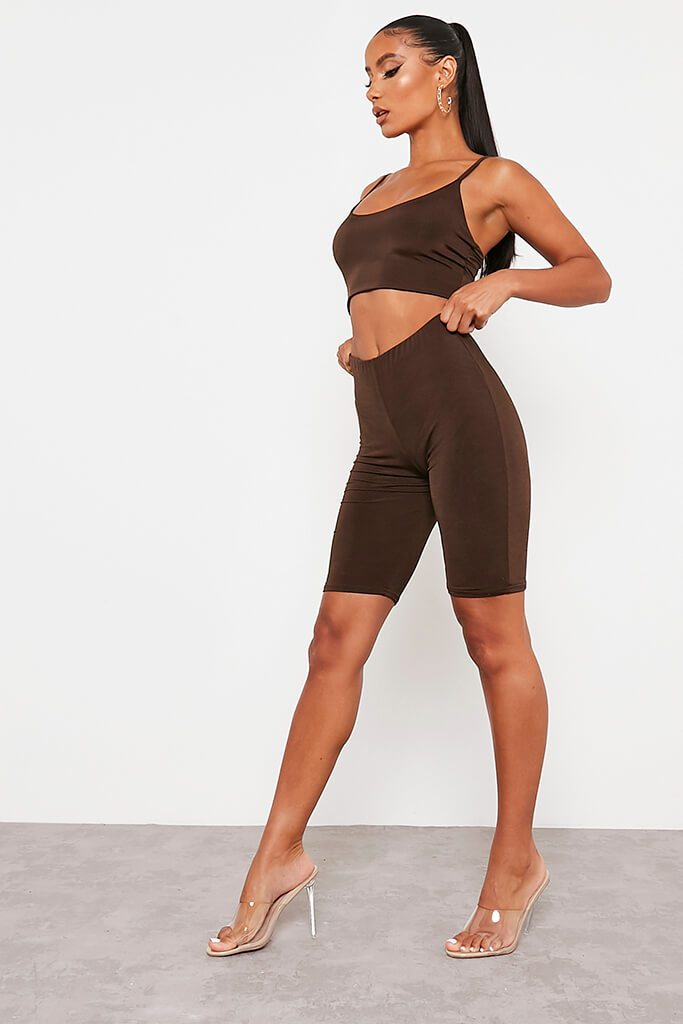 Chocolate Double Layer High Waisted Cycling Shorts view 3