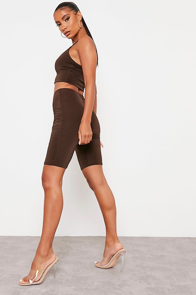 Chocolate Double Layer High Waisted Cycling Shorts view 4