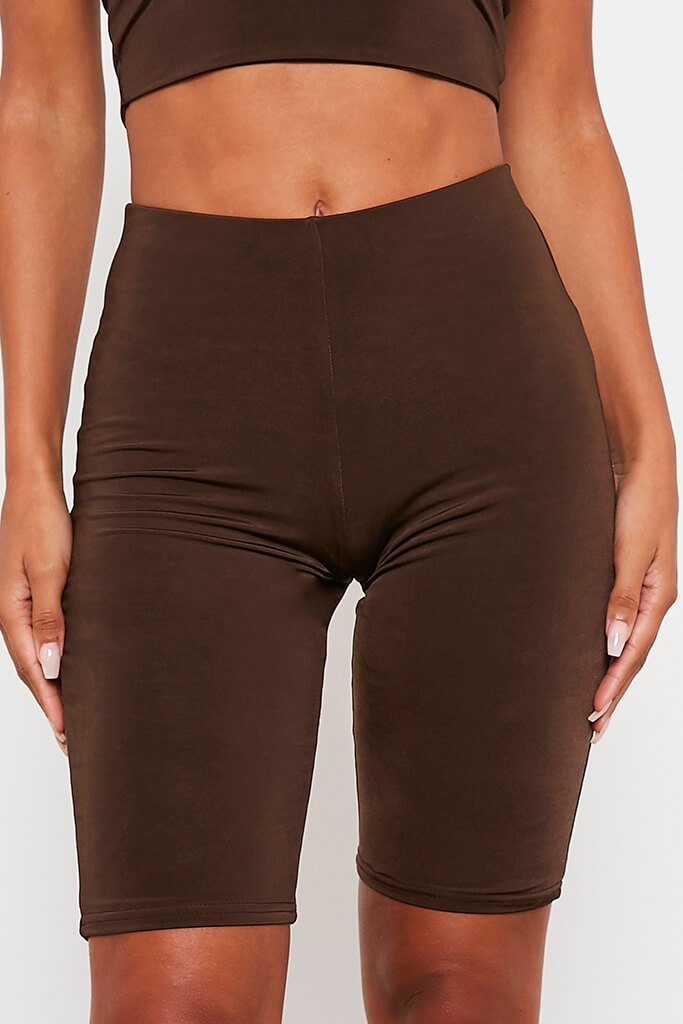 Chocolate Double Layer High Waisted Cycling Shorts view 5