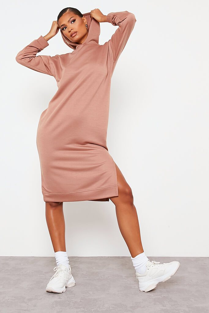 Chocolate Split Leg Midi Hooded Sweater Dress