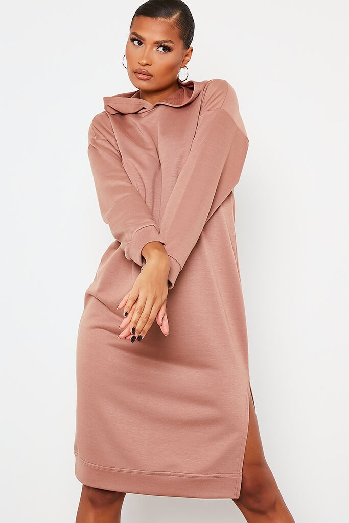 Chocolate Split Leg Midi Hooded Sweater Dress view 2