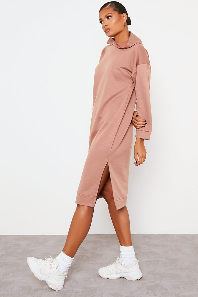 Chocolate Split Leg Midi Hooded Sweater Dress view 3