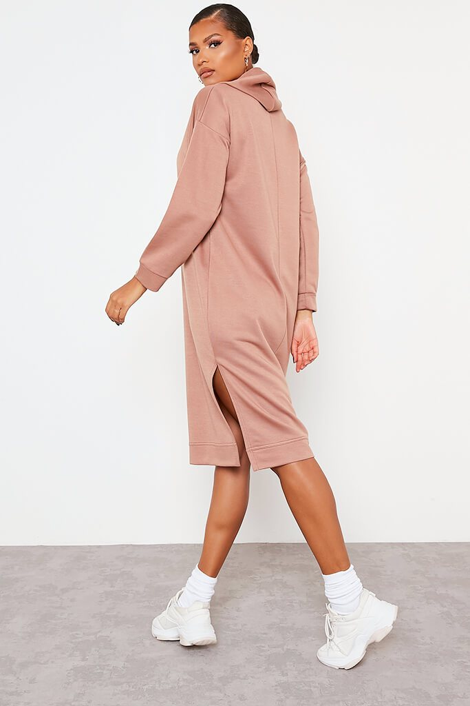 Chocolate Split Leg Midi Hooded Sweater Dress view 4