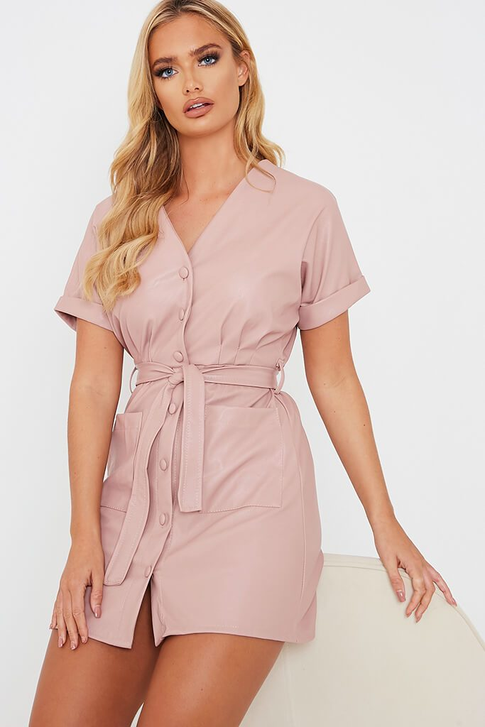 Pink Faux Leather Short Sleeve Belted Utility Dress