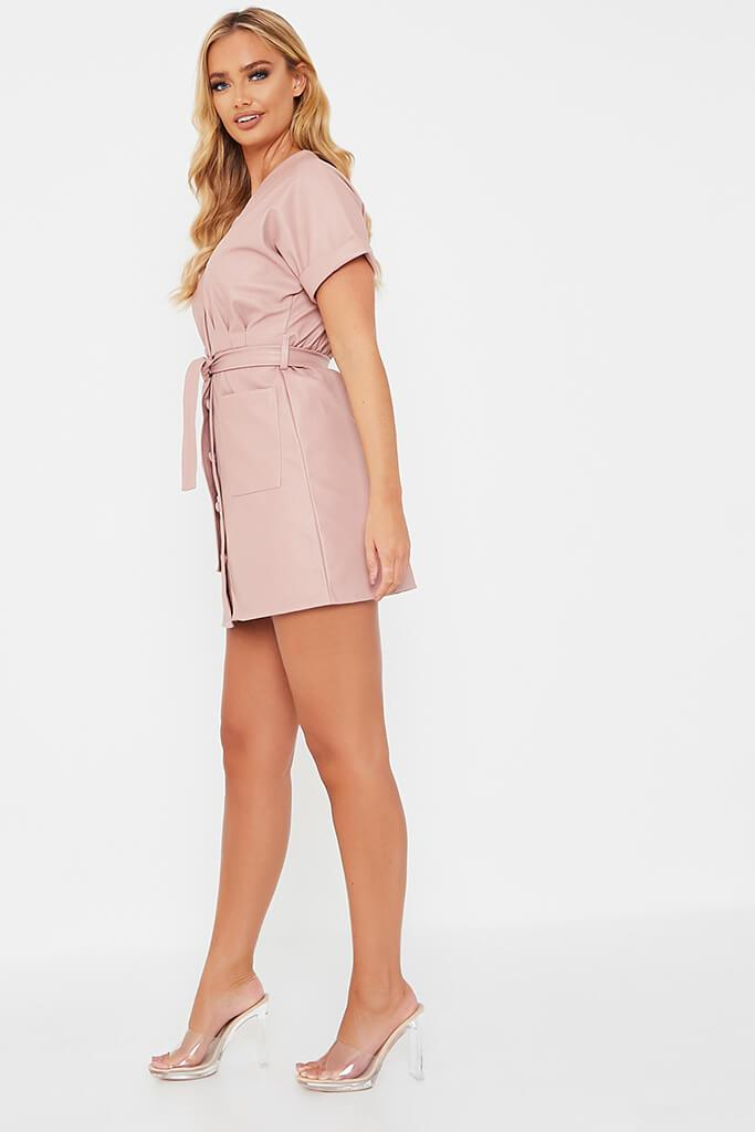Pink Faux Leather Short Sleeve Belted Utility Dress view 3