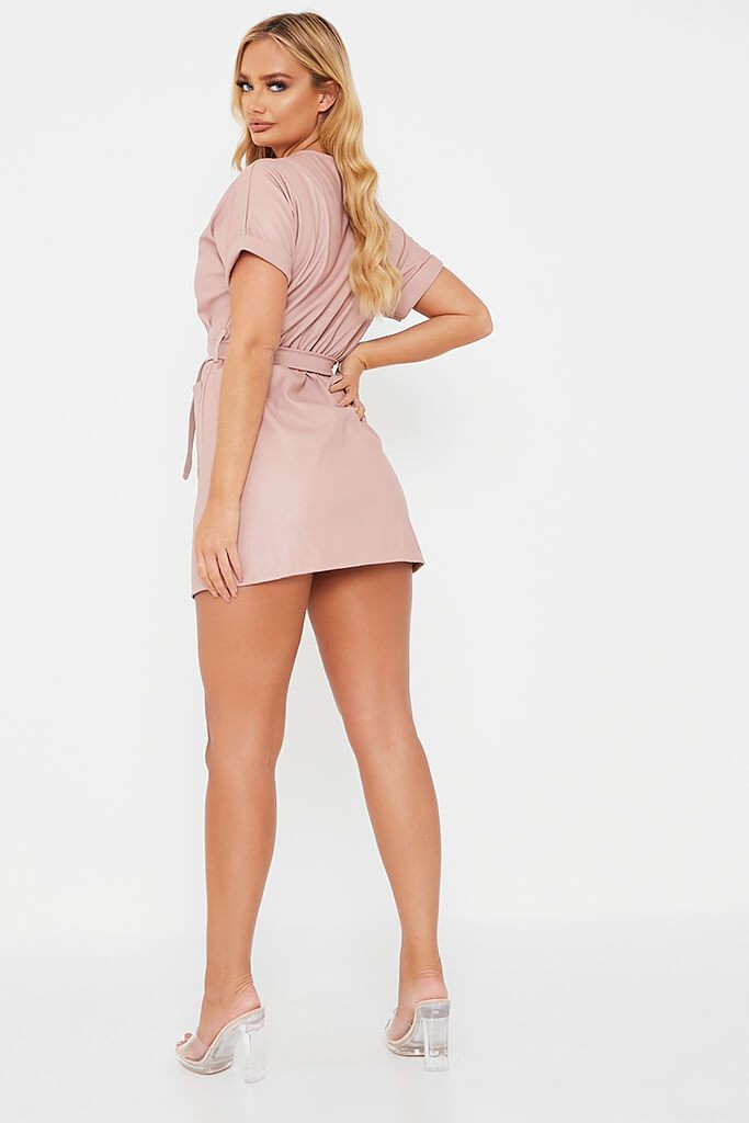 Pink Faux Leather Short Sleeve Belted Utility Dress view 4