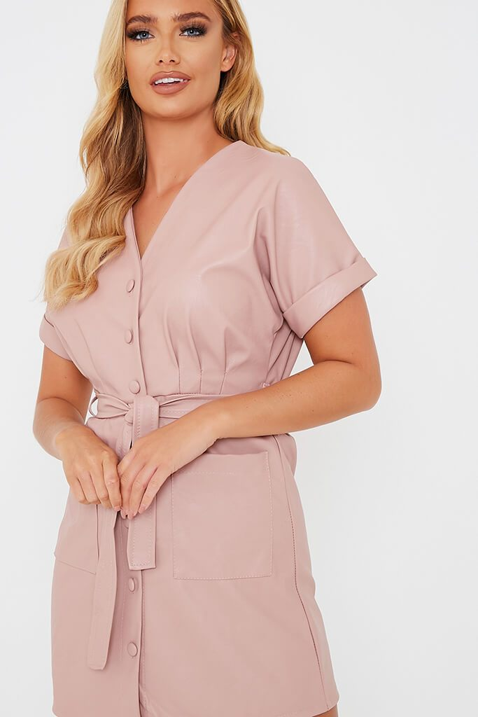 Pink Faux Leather Short Sleeve Belted Utility Dress view 5