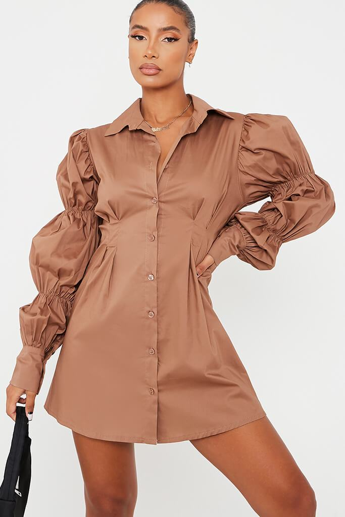 Camel Cotton Cinched Puff Sleeve Shirt Dress