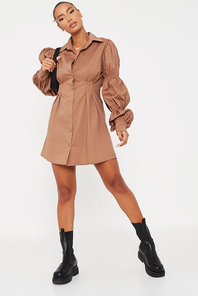 Camel Cotton Cinched Puff Sleeve Shirt Dress view 2