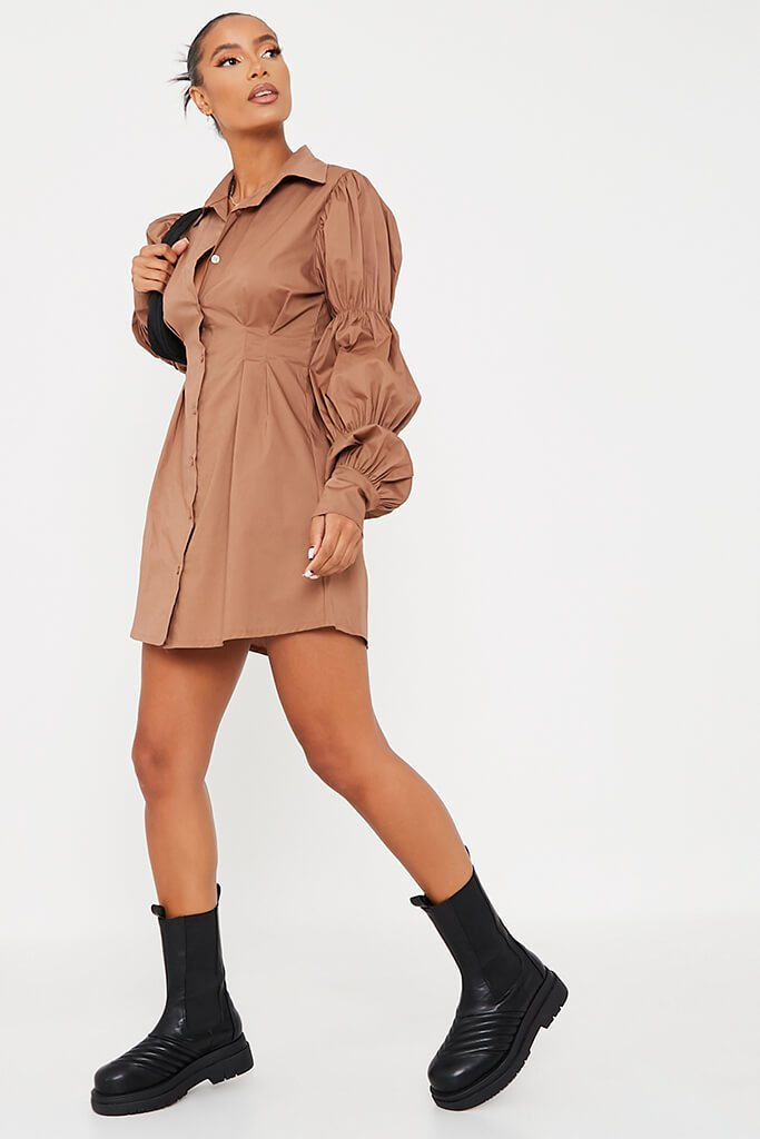 Camel Cotton Cinched Puff Sleeve Shirt Dress view 3