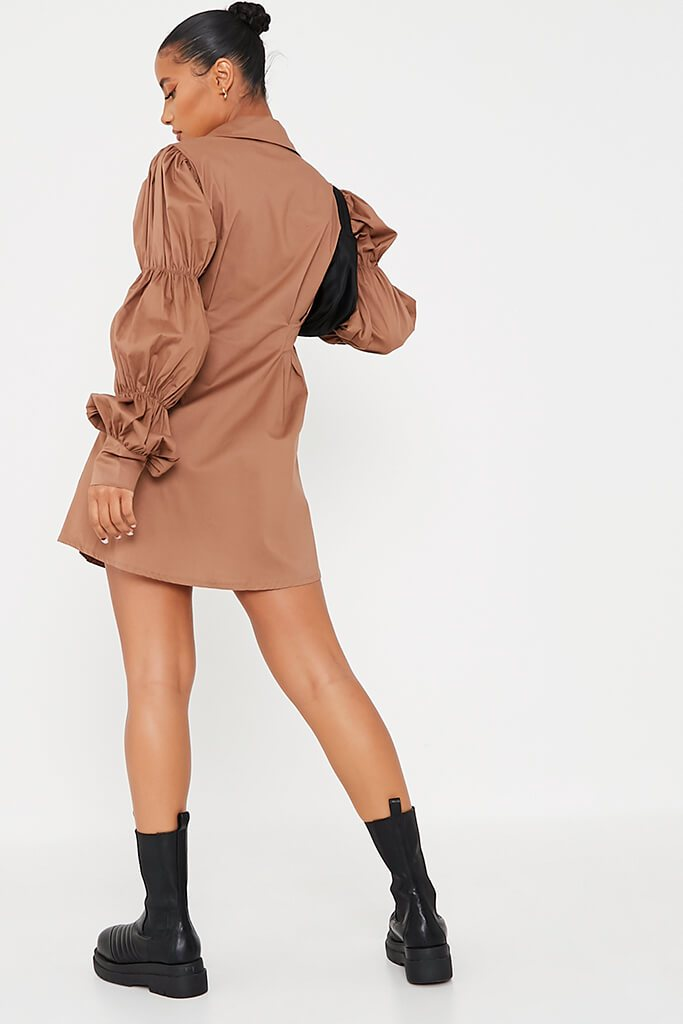 Camel Cotton Cinched Puff Sleeve Shirt Dress view 4
