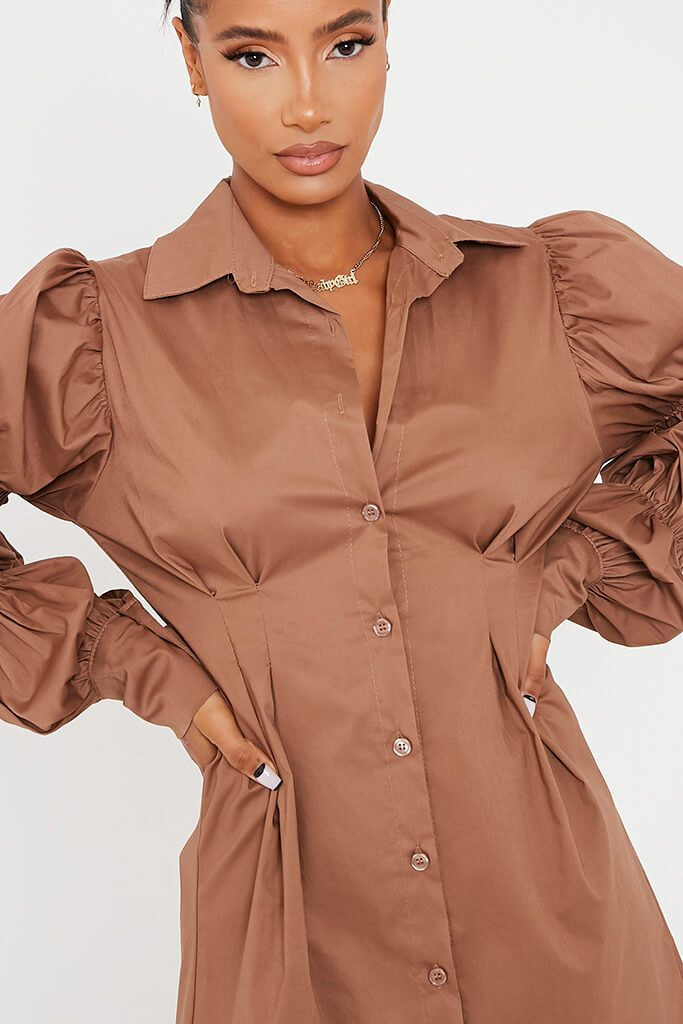 Camel Cotton Cinched Puff Sleeve Shirt Dress view 5