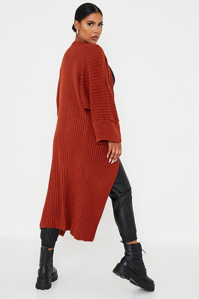 Rust Wide Sleeve Knitted Maxi Cardigan view 4