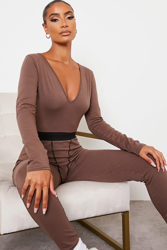 Chocolate Jersey Contrast Stitch Plunge Front Jumpsuit view 2