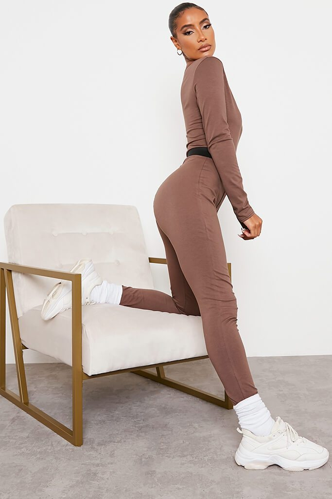 Chocolate Jersey Contrast Stitch Plunge Front Jumpsuit view 3
